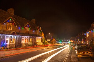 Corfe Castle Christmas lights, Dorset