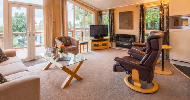 woodland falls luxury lodge on rockley park sleeps 6 living room