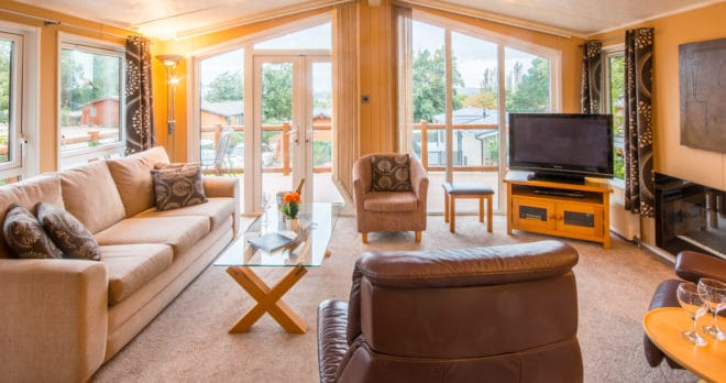 woodland falls luxury lodge on rockley park sleeps 6 living room view