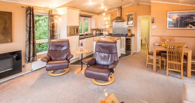 woodland falls luxury lodge on rockley park sleeps 6 living room 2
