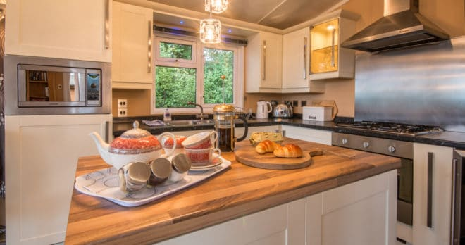 woodland falls luxury lodge on rockley park sleeps 6 kitchen