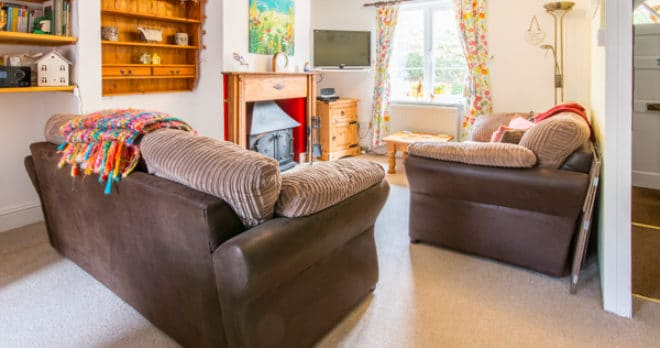 holiday cottage with log burner in ridge living room