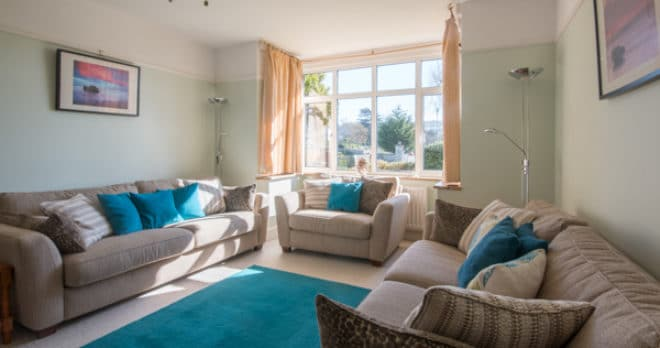 Accommodation for large groups in Swanage sitting room