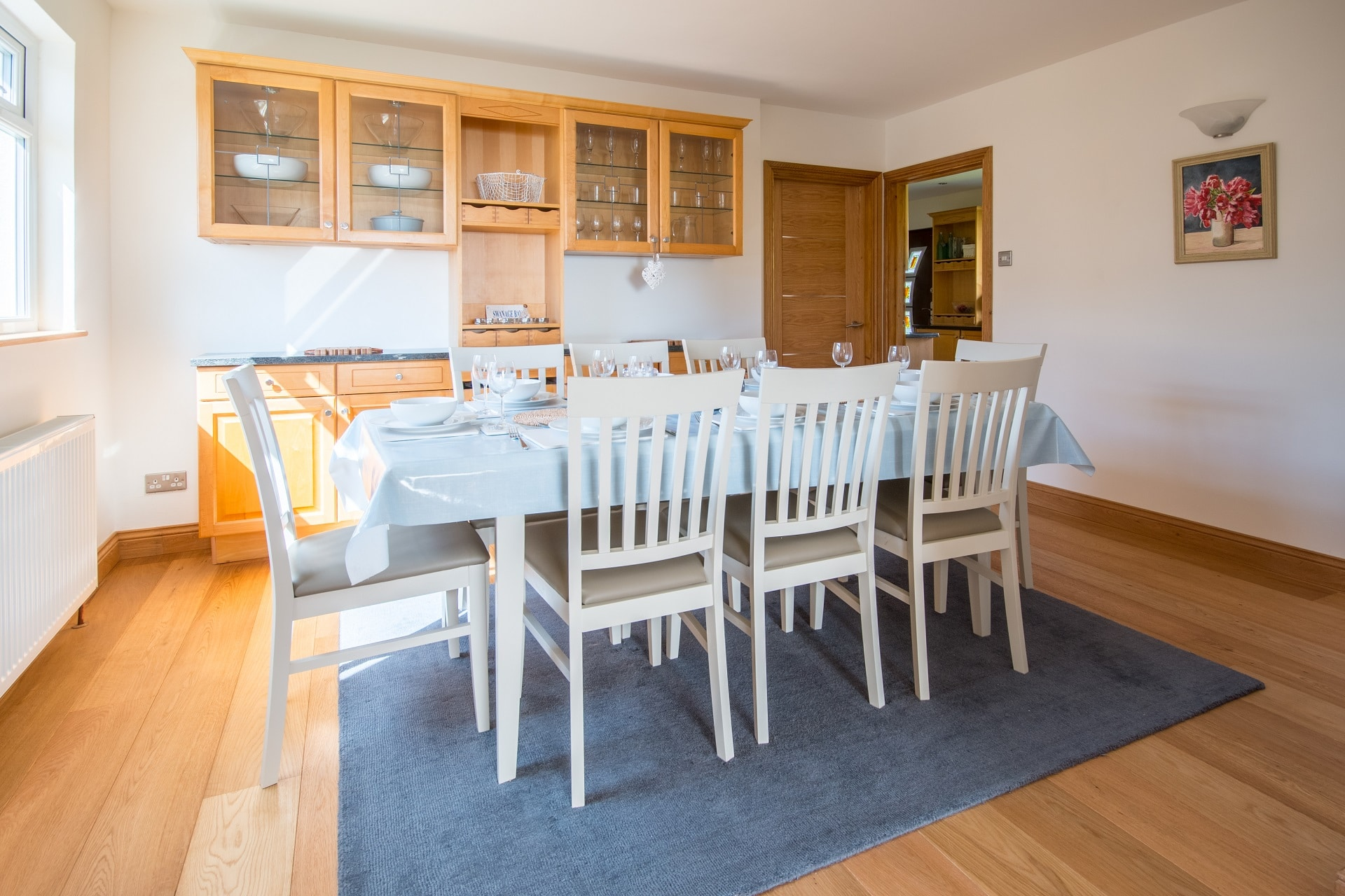 pet friendly sea view swanage dining room