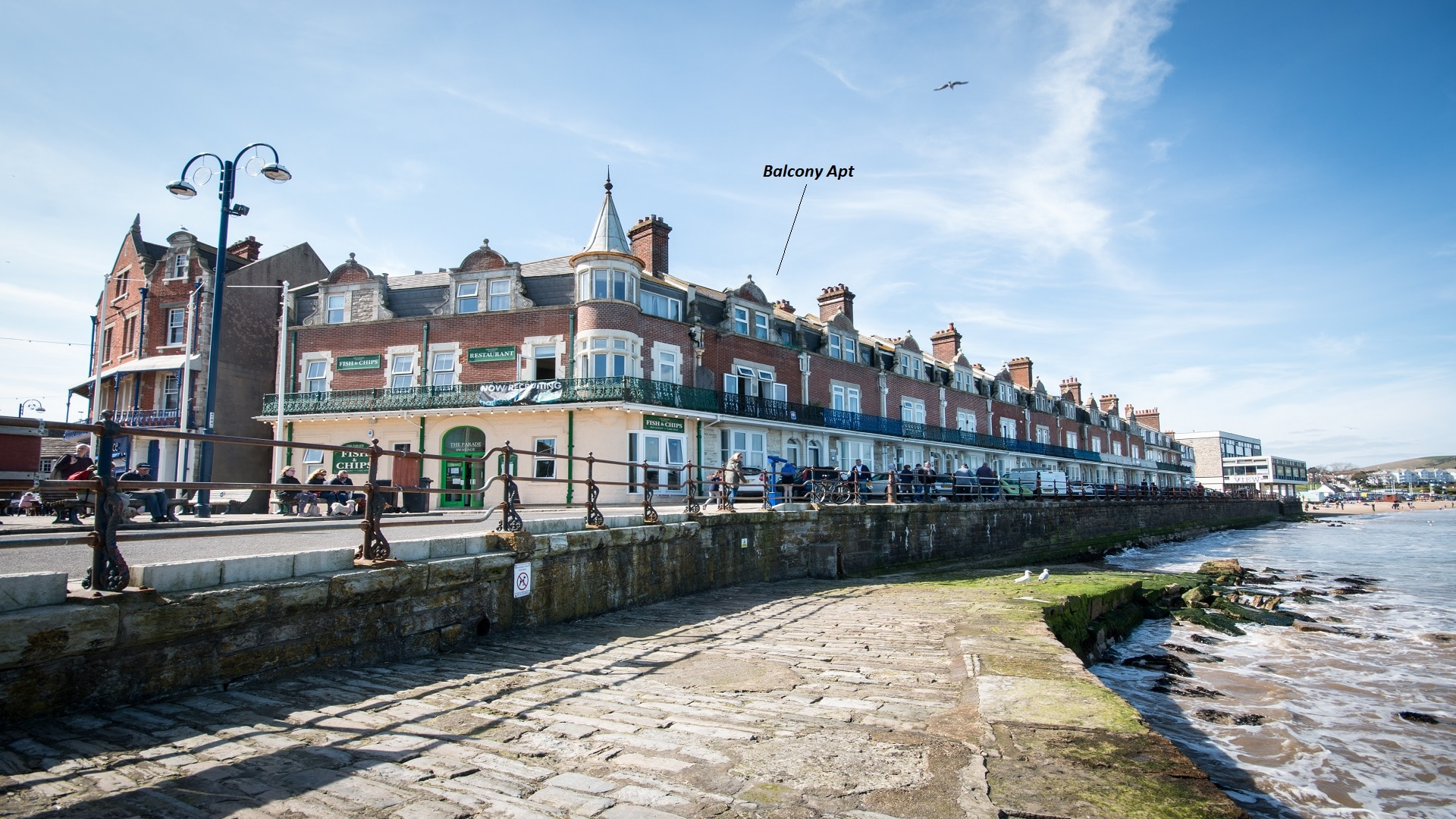 seaside apartment in Swanage town view
