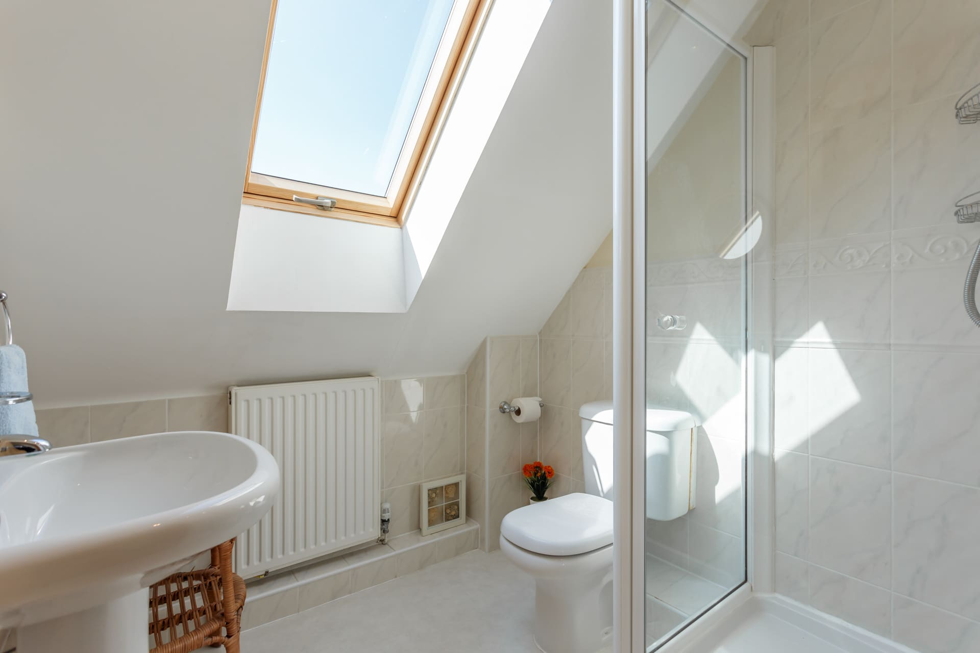 En suite shower room for master bedroom with views of Radipole Nature Reserve.